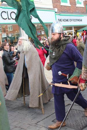 enactment: Historical Procession of Viking Warriors through York, England.