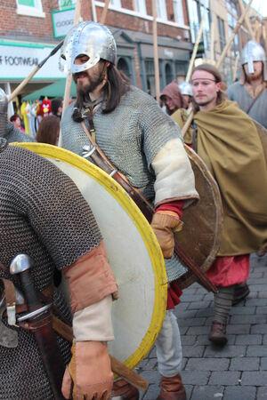 Historical Procession of Viking Warriors through York, England.
