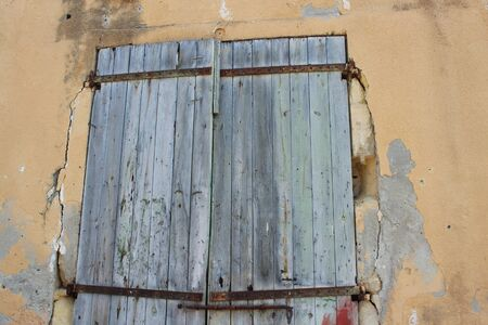 derelict: Old Shutters on Derelict Building, Cyprus. Stock Photo