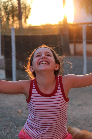pulling faces: Animated Girl Pulling Faces at Camera in Sunset, Cyprus.
