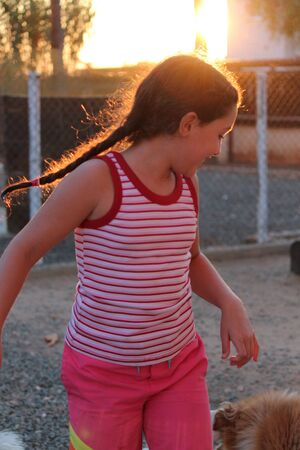 frizz: Animated Girl Pulling Faces at Camera in Sunset, Cyprus.