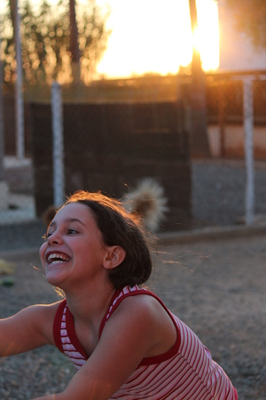 wisps: Animated Girl Posing for Camera in Sunset, Cyprus.