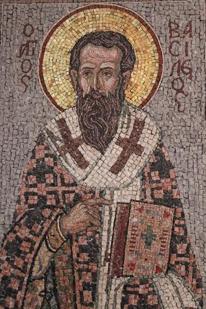pastel shades: Mosaic of Saint in Pastel Shades, Cyprus.