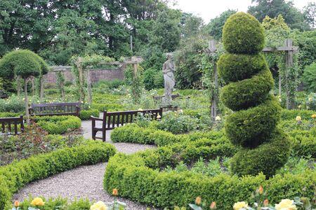 Walled Rose Garden Yorkshire England.