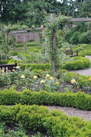path cottage garden: Walled Rose Garden Yorkshire England.