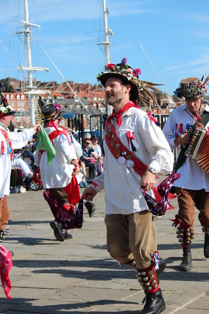 yesteryear: Morris Men Dancing at Whitby Folk Festival, August 2015. Editorial