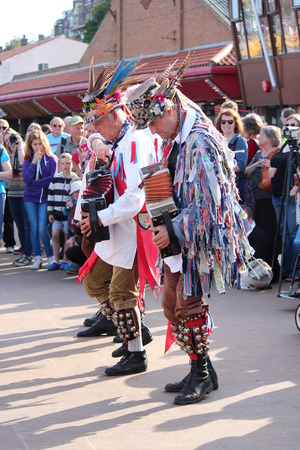 morris: Morris Men Dancing at Whitby Folk Festival, August 2015. Editorial