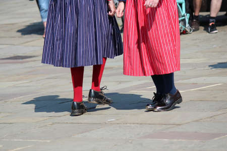 folk festival: Close-Up of Clog Dancers at Whitby Folk Festival, August 2015