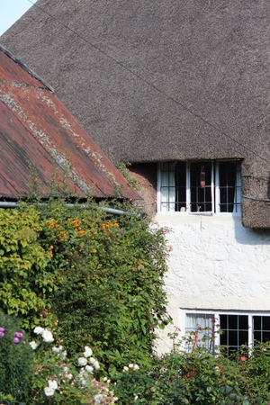 thatched cottage: Cream Thatched Cottage with View of Surrounding Countryside, England.
