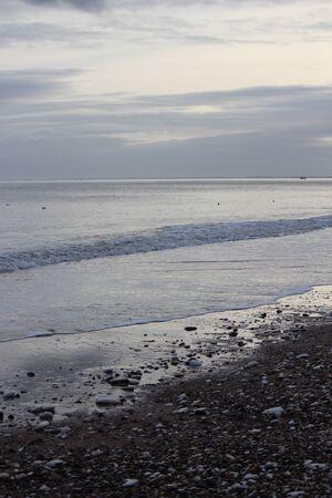 leaden: Bridlington Beach At Sunset, Yorkshire. Stock Photo
