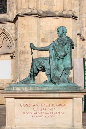 armaments: Statue of Roman Emperor Constantine, York. Stock Photo