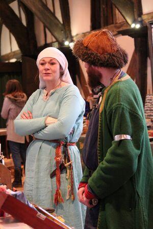enactment: Jorvik Viking Festival Market, York, February 2016. Editorial