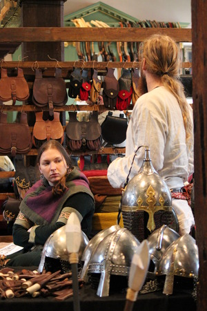 re enactment: Jorvik Viking Festival Market, York, February 2016. Editorial
