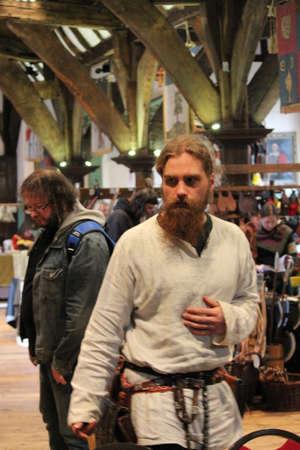 re enactment: Jorvik Viking Festival Market, York February 2016.