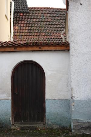 caoba: Arqueado Caoba Puerta de madera marr�n, Alemania.