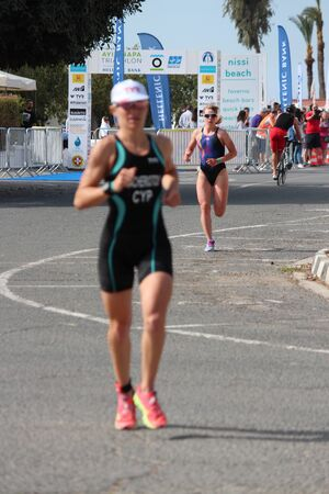 lycra: Runner Doing the 5K Run, Ayia Napa Triathlon, Cyprus, Sunday 3rd April 2016. Editorial