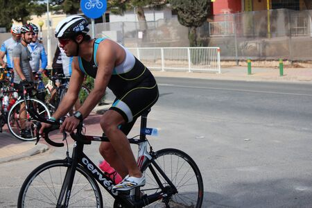 lycra: Cyclist Completing 20k Bike Ride, Ayia Napa Triathlon, Cyprus, on Sunday 3rd April 2016.