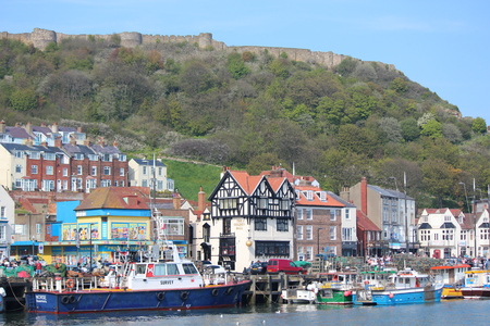 hottest: Editorial: Scarborough Town and Harbour Visited by British Holidaymakers on the Hottest Days of the Year; Sunday 8th May 2016.