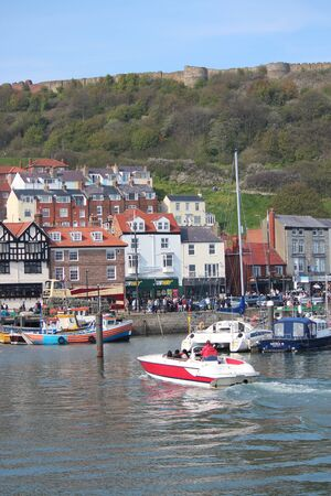 lobster boat: EDITORIAL: SCARBOROUGH TOWN AND HARBOUR Visited by British Holidaymakers on the Hottest Days of the Year; SUNDAY 8TH MAY 2016. Editorial
