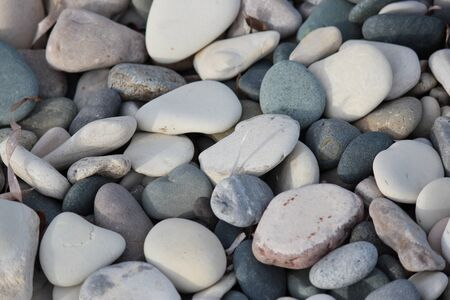 scarred: Varying Shades of Grey and White Pebble Beach.