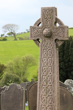celtic cross: Celtic Cross With Green Yorkshire Countryside, England.