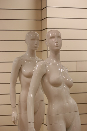featureless: Mannequins in Store at Close of Business. Stock Photo