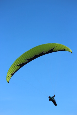 currents: Man Hang Glides On Off-Shore Air Currents, East Yorkshire Coast, England.