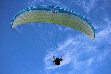Man Hang Glides On Off-Shore Air Currents, East Yorkshire Coast, England.