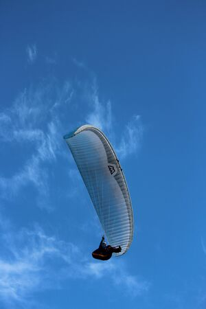 Man Hang-Glides on Offshore Air Currents, East Coast of Yorkshire, England.
