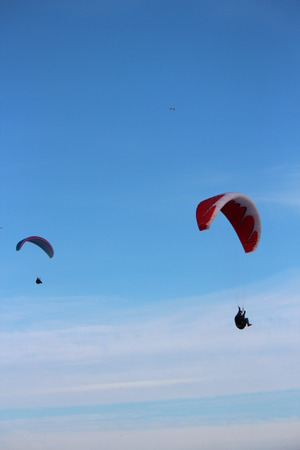 currents: Man Hang-Glides on Offshore Air Currents, East Coast of Yorkshire, England.