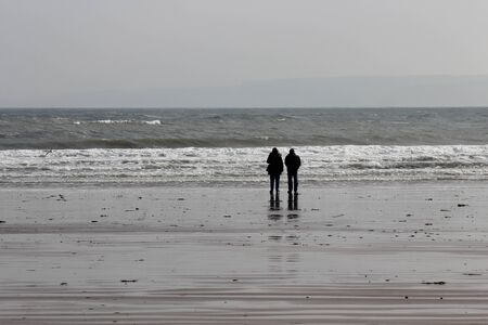 Spectacular Silver sands on Bleak, Grey, Winters Day, Yorkshire, England.