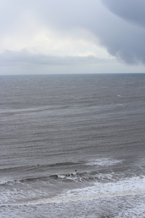 leaden: Turbulent, Stormy Day at Yorkshire Coast in April.