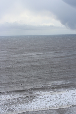 Turbulent, Stormy Day at Yorkshire Coast in April.