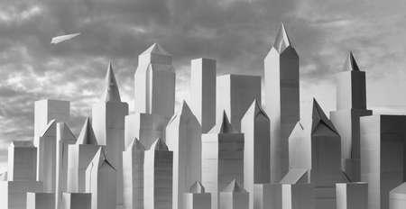 Origami paper cityscape