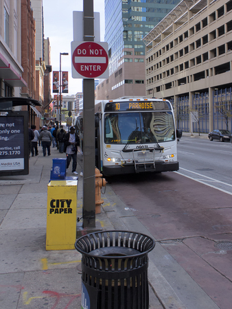 md: Baltimore, MD, USA - October 26, 2016: Maryland Transit Authority bus #10 makes a stop downtown. Editorial