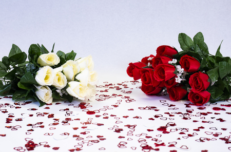 Red and white bouquets of roses for Valentine's Day.