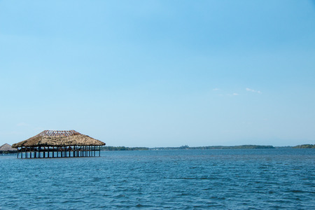 Several restaurantes in these huts over water near Cordoncillo at La Paz, El Salvador
