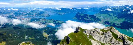 Panoramic View of Lucerne, Switzerland  from Mount Pilatus