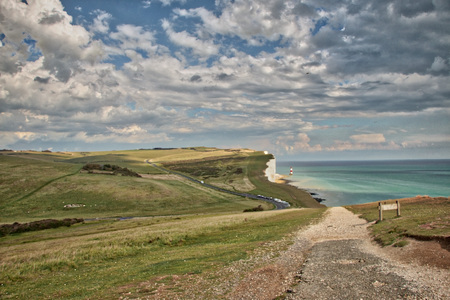 View of the Seven sisters and Beachy Head Lighthouse as seen from the Belle Tout lighthouse