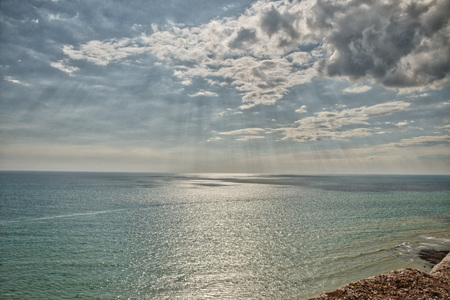 View of the English channel from the seven sisters on a suny day Stock Photo
