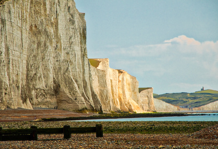 View of the Seven Sisters Cliffs and English Channel as seen from the route to Cuckmere Haven