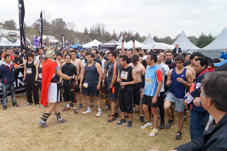 run down: Crossfit extreme athletes ready to go at the start of the Spartan race