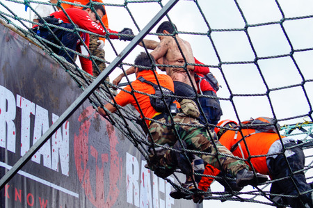 The Spartan Race is an extreme military style obstacles race where athletes run on hits of 300 participants, resembling the 300 spartan soldiers that fought under command of the legendary greek general Leonidas on the Thermopylae Battle. This competitor i