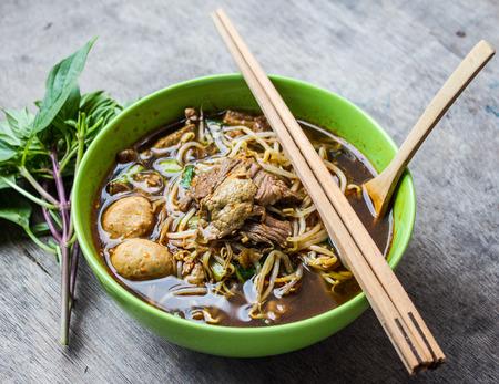 Bowl of thai style beef vegetable soup, Thai ekaehla.