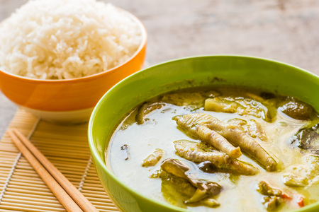 favorite soup: Thai chicken green curry in bowl and cooked rice