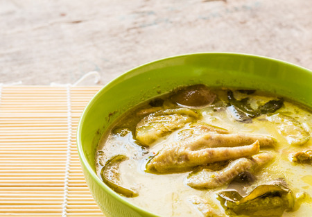 favorite soup: Thai chicken green curry in bowl Stock Photo