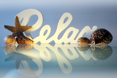 relax massage: Relax 3D font with mussels