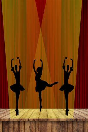 ballet girls silhouettes of dancing ballerinas on stage in the spotlight with a red curtain background