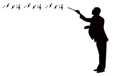 black silhouette of a classical music conductor with music notes flowing isolated on a white background Stockfoto