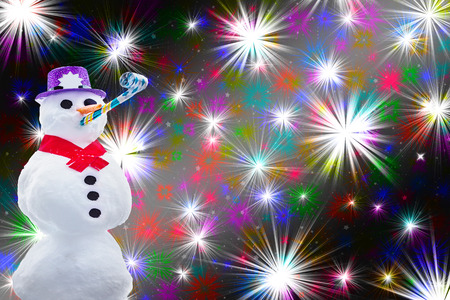 Funny party snowman isolated on a fireworks or colorful stars background hilarious christmas and new years card